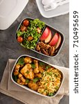 lunch boxes with food ready to... | Shutterstock . vector #710495659