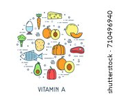 healthy food icon. vitamin a.... | Shutterstock .eps vector #710496940