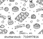 chocolate doodle seamless... | Shutterstock .eps vector #710497816