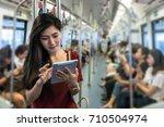 asian oman passenger with...   Shutterstock . vector #710504974