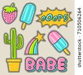 cute girly sticker patch design ...   Shutterstock .eps vector #710506264