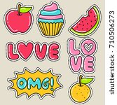 love  cupcake  and watermelon... | Shutterstock .eps vector #710506273
