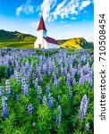 vik church surrounded by... | Shutterstock . vector #710508454