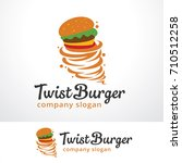 twist burger logo template... | Shutterstock .eps vector #710512258