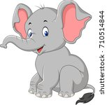 cartoon cute baby elephant... | Shutterstock .eps vector #710514844