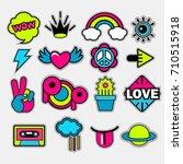 pop art vector stickers  labels ... | Shutterstock .eps vector #710515918