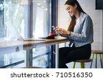 positive hipster girl laughing... | Shutterstock . vector #710516350
