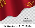 waving flag of murcia is a... | Shutterstock .eps vector #710517316
