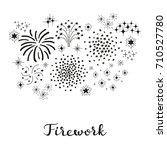 composition of doodle fireworks ... | Shutterstock .eps vector #710527780