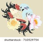 beautiful  colorful koi carp... | Shutterstock .eps vector #710529754