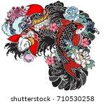 beautiful  colorful koi carp... | Shutterstock .eps vector #710530258