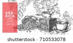 vintage coffee grinder  coffee...   Shutterstock .eps vector #710533078