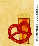delicious pretzel with glass of ... | Shutterstock . vector #710535670