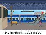 illustration of railway station | Shutterstock .eps vector #710546608