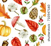 seamless autumn pattern.... | Shutterstock . vector #710547160