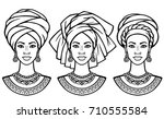 set of portraits  the african... | Shutterstock .eps vector #710555584