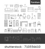 house interior furniture line... | Shutterstock .eps vector #710556610