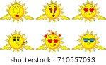 cartoon sun shrugs shoulders... | Shutterstock .eps vector #710557093
