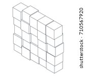wall of square cubes. isometric ... | Shutterstock .eps vector #710567920