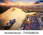 container ship in import export ... | Shutterstock . vector #710568010
