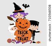 halloween  trick or treat  kids ... | Shutterstock .eps vector #710568508