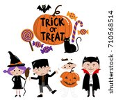 halloween  trick or treat  kids ... | Shutterstock .eps vector #710568514