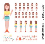 front  side  back view animated ... | Shutterstock .eps vector #710572639