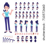 front  side  back view animated ... | Shutterstock .eps vector #710572660