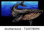 vector illustration of whale in ...   Shutterstock .eps vector #710578090