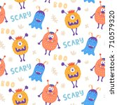 seamless pattern with cute... | Shutterstock .eps vector #710579320