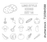 vegetables set icons in outline ... | Shutterstock .eps vector #710584588