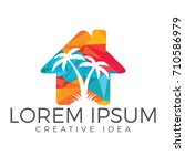 vector house and palm tree logo.... | Shutterstock .eps vector #710586979