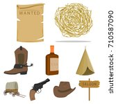 wild west set icons in cartoon... | Shutterstock .eps vector #710587090