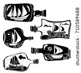 bottles with sailboats. hand... | Shutterstock .eps vector #710589688