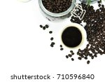 coffee bean and hot coffee in... | Shutterstock . vector #710596840