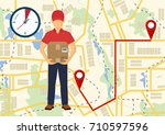service of fast delivery.... | Shutterstock .eps vector #710597596