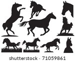 horse silhouette collection.... | Shutterstock .eps vector #71059861