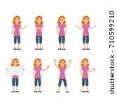 girl vector set  sign and... | Shutterstock .eps vector #710599210