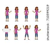 girl vector set  sign and... | Shutterstock .eps vector #710599219