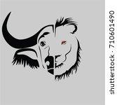 buffalo vs lion head vector | Shutterstock .eps vector #710601490
