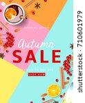 beautiful flyer for autumn sale.... | Shutterstock .eps vector #710601979