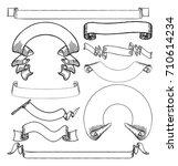 a set of vintage paper scrolls  ... | Shutterstock .eps vector #710614234