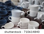 pile of blue  brown and white... | Shutterstock . vector #710614840