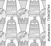 ice cream  dessert. black and... | Shutterstock .eps vector #710618764