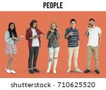 diverse of young adult people... | Shutterstock . vector #710625520