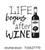 hand drawn bottle of wine and ... | Shutterstock .eps vector #710627770