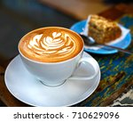 Coffee Latte And Cake