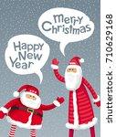big santa and slim santa wish... | Shutterstock .eps vector #710629168