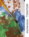 brush on paper and multi... | Shutterstock . vector #710629180