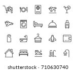 premium set of hotel line icons.... | Shutterstock .eps vector #710630740